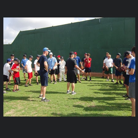 Tom House & Kevin Beirne instructing Students on the field at Pitching Clinic